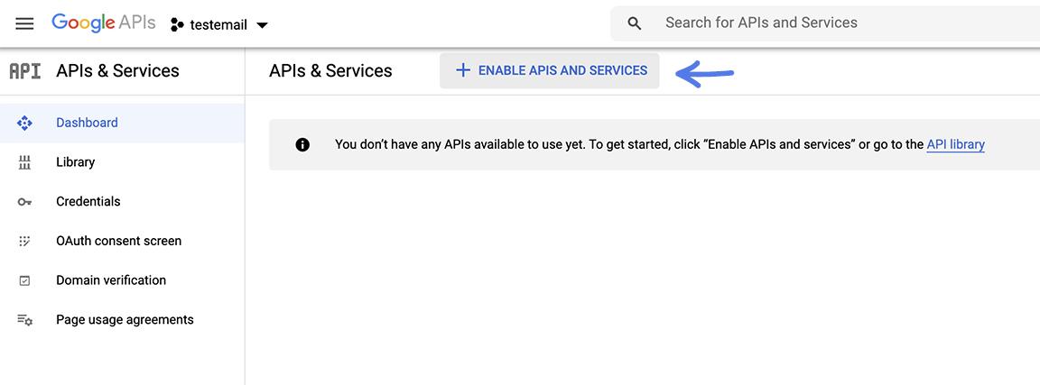 הגדרת Enable APIS שם הפרויקט בגוגל בשביל להגדיר את התיבת מייל הצוותי